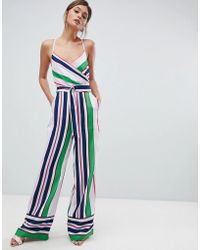 Ted Baker - Strappy Wrap Front Jumpsuit In Bay Of Honour Stripe - Lyst