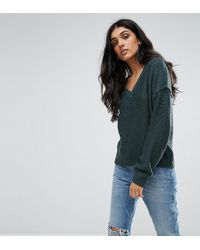 Noisy May Tall - V Neck Sweater With Sleeve Detail - Lyst