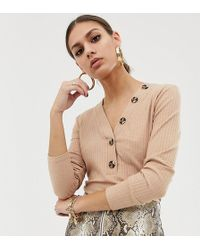 NA-KD - Ribbed Cropped Top With Button Detail In Beige - Lyst