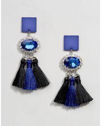 ASOS - Triple Tassel Gemstone Earrings - Lyst
