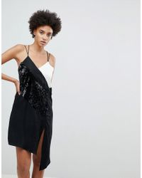 N12H - At The Bar Contrast Sequined Slip Dress - Lyst