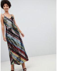 Stradivarius - Diagonal Sequin Cami Dress In Midi - Lyst