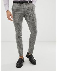 cd1f7b2980b5 River Island Houndstooth Stretch Super Skinny Pants in Brown for Men - Lyst
