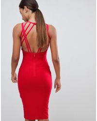 Vesper - Strappy Back Midi Dress In Red - Lyst