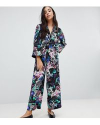 Monki - Tropical Floral Print Wide Leg Trousers - Lyst