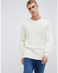 New Look - Knitted Jumper In Cream - Lyst