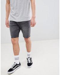 Bershka - Slim Fit Denim Shorts In Washed Black - Lyst