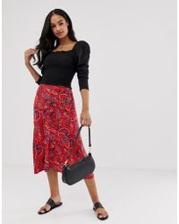 8393ceade Y.A.S Floral Midi Skirt in Black - Lyst