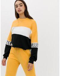 Hollister - Raw Hem Sweatshirt With Arm Logo In Colour Block - Lyst