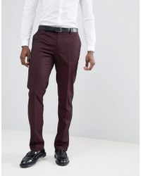 Mango - Man Suit Trousers In Burgundy - Lyst