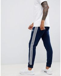 adidas Originals - Three Stripe Skinny Joggers With Cuffed Hem In Navy Dh5834 - Lyst