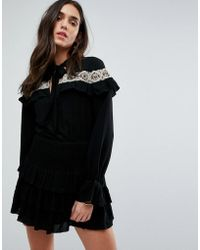 Tularosa - Embroidered Cape Dress - Lyst