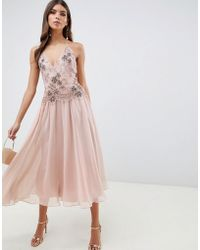 ASOS - Midi Dress With Lace And Embellished Cami Top - Lyst
