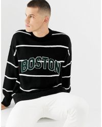 New Look - Crew Neck Stripe Jumper With Boston Lettering - Lyst