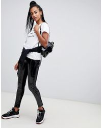 Karl Lagerfeld - Faux Patent leggings - Lyst
