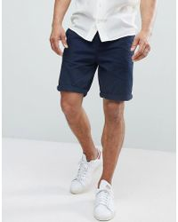 Bershka - Belted Shorts In Navy - Lyst