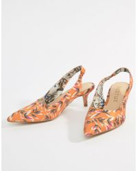 Gestuz - Orange Printed Heeled Sandals - Lyst