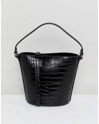 Mango - Croc Print Bucket Bag In Black - Lyst