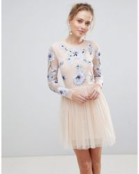 ASOS - Pastel Embroidered Tulle Mini Dress - Lyst