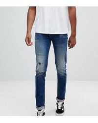 ASOS - Tall Skinny Jeans In Dark Wash Blue With Abrasions - Lyst
