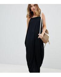 ASOS - Asos Design Petite Tab Back Drape Hareem Maxi Dress - Lyst