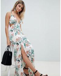 Missguided - Tropical Print Side Split Maxi Dress - Lyst
