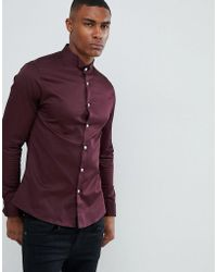 ASOS - Slim Sateen Shirt In Burgundy With Wing Collar And Double Cuff - Lyst