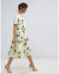 Amy Lynn - Amy Lynn A Line Midi Skirt In Lemon Print - Lyst