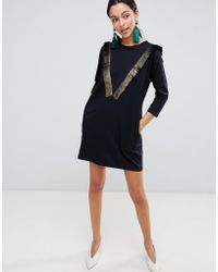 Traffic People - Long Sleeve T-shirt Dress With Fringed Detail - Lyst