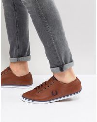 Fred Perry - Kingston Leather Plimsolls In Tan - Lyst