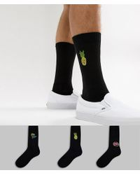 ASOS - Sports Style Socks In Black With Neon Embroidery 3 Pack - Lyst