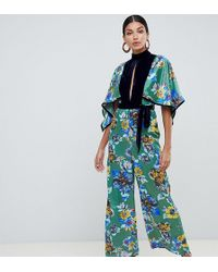 ASOS - Asos Design Tall Jumpsuit With High Neck In Mixed Print And Velvet - Lyst