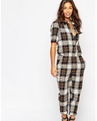 Noisy May Petite - Checked Boilersuit - Caramel - Lyst