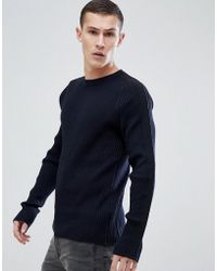 HUGO - Tapped Detail Ribbed Jumper In Navy - Lyst