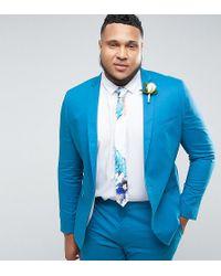 ASOS - Plus Wedding Skinny Suit Jacket In Ocean Blue Stretch Cotton - Lyst