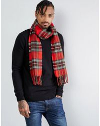 River Island - Tartan Check Scarf In Red - Lyst