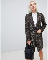 New Look - Brushed Leopard Print Tailored Coat - Lyst