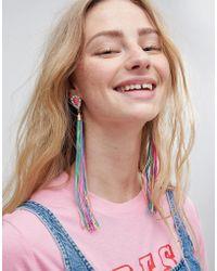 ASOS - Asos Statement Jewel Stone And Multicolour Tassel Earrings - Lyst