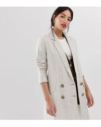 ASOS - Asos Design Tall Linen Coat With Contrast Buttons - Lyst
