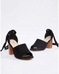 51fe294a138 Park Lane Tie Ankle Block Velvet Heel Sandal in Red - Lyst