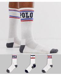 Polo Ralph Lauren Lot de 3 paires de chaussettes de sport avec logo joueur de polo - Blanc / bleu marine / rouge / bleu royal