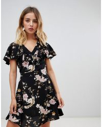 New Look - Floral Ruffle Tea Dress - Lyst