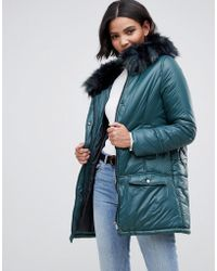 Urbancode - Parka Coat With Onion Quilting And Faux Fur Hood - Lyst