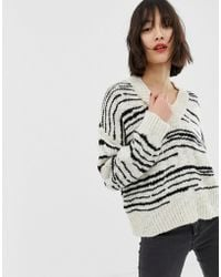 Mango - Striped Oversized V Neck Jumper In Black And White - Lyst