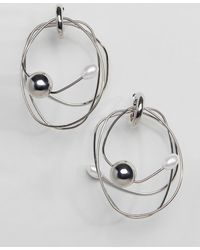 ASOS - Earrings In Abstract Wire Design With Pearl Detail In Silver - Lyst