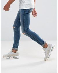 ASOS - Extreme Super Skinny Jeans In Mid Wash With Rips And Side Detail - Lyst