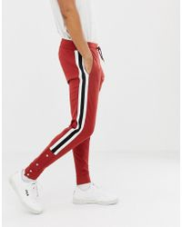 ASOS - Retro Track Skinny joggers With Side Stripes And Poppers In Red - Lyst