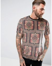 ASOS - Relaxed T-shirt In Veour With Paisley Print - Lyst