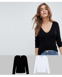 ASOS - Asos Design Petite Ultimate Top With Long Sleeve And V-neck 2 Pack Save - Lyst