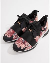 Ted Baker - Black Floral Sporty Trainers - Lyst